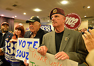 Albertson, New York, U.S. 26th October 2013. When New York Governor Cuomo endorses Suozzi for Nassau County Executive, supporters, including veterans, and local union members, fill the announcement room at the Albertson Veterans of Foreign Wars VFW Post. Democrat Suozzi, the former Nassau County Executive, and Republican incumbent Mangano face each other in a rematch in the upcoming November 5th election.