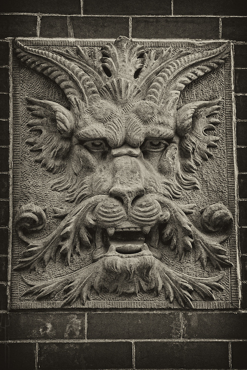 A demonic architectural detail in Hoboken, New Jersey.