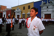 PERU, TRUJILLO, FESTIVALS student in parade on Plaza de Armas