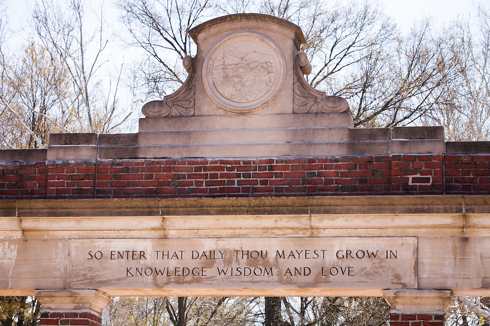 Alumni Gate was built by the Class of 1915 to mark the 100th anniversary of the first graduating class at Ohio University. The quotations on the gate were taken from a Latin inscription found over the main portal of the University of Padua, Italy. Photo by Ohio University / Jonathan Adams