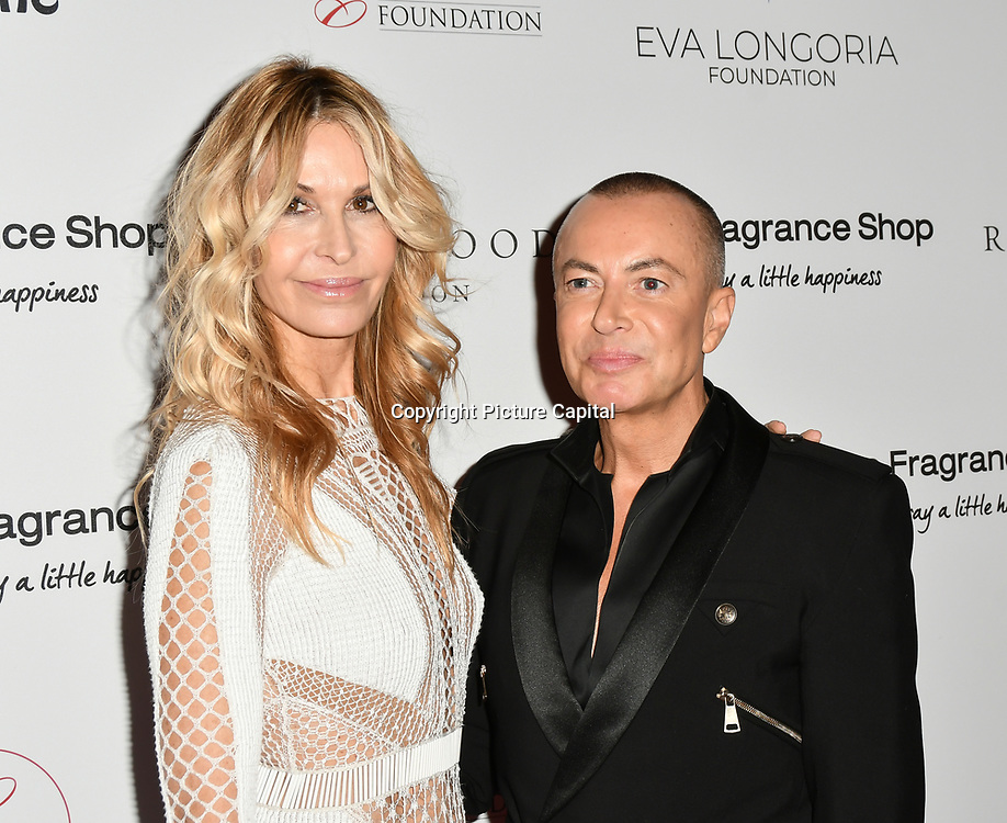 Melissa Odabash and Julien Macdonald Arrivers at The Global Gift Gala red carpet - Eva Longoria hosts annual fundraiser in aid of Rays Of Sunshine, Eva Longoria Foundation and Global Gift Foundation on 2 November 2018 at The Rosewood Hotel, London, UK. Credit: Picture Capital