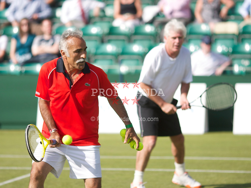 MANCHESTER, ENGLAND: Mansour Bahrami (IRN) and Paul McNamee (AUS) on Day 2 of the Manchester Masters Tennis Tournament at the Northern Tennis Club. (Pic by David Tickle/Propaganda)