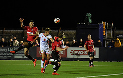 """Hyde FC's Stanley Segarel heads on goal during the Emirates FA Cup, first round match at Ewen Fields, Hyde. PRESS ASSOCIATION Photo. Picture date: Friday November 3, 2017. See PA story SOCCER Hyde. Photo credit should read: Anthony Devlin/PA Wire. RESTRICTIONS: EDITORIAL USE ONLY No use with unauthorised audio, video, data, fixture lists, club/league logos or """"live"""" services. Online in-match use limited to 75 images, no video emulation. No use in betting, games or single club/league/player publications."""