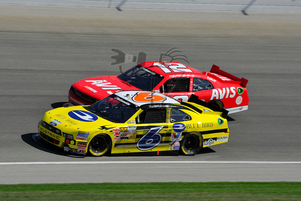 Joliet,Il - Sep 15, 2012: Ricky Stenhouse, Jr. (6) races side by side with Sam Hornish, Jr. (12) during race action for the Dollar General 300 at Chicagoland Speedway in Joliet, Il.