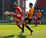 Jamie&nbsp;Ness of Leyton Orient and Adam Reach of Bradford City during the Sky Bet League 1 match at the Matchroom Stadium, London<br /> Picture by David Horn/Focus Images Ltd +44 7545 970036<br /> 29/03/2014