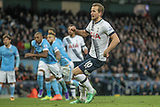 Harry Kane (Tottenham Hotspur) watches as his penalty hits the net and he score. 1-0 to Spurs during the Barclays Premier League match between Manchester City and Tottenham Hotspur at the Etihad Stadium, Manchester, England on 14 February 2016. Photo by Mark P Doherty.