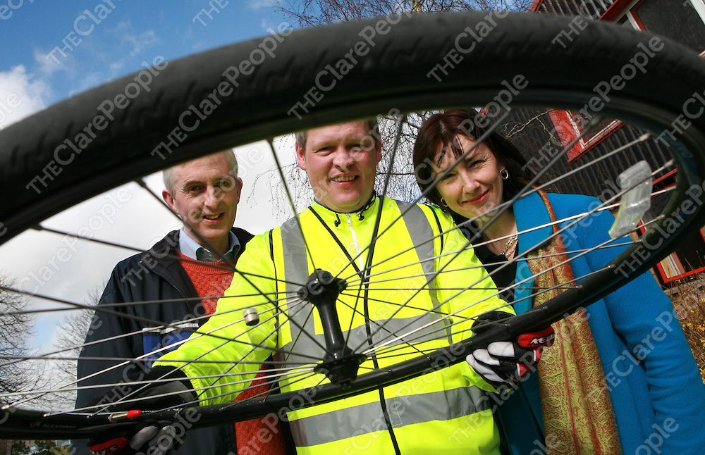 1/4/08<br />Tomas de Buitleir, Employment Officer, Clare Supported Employment Service, David Ryan, Co-ordinator Worl Access and Alice O'Carroll , Clare Supported Employment Service at the Brothers of charity to welcome the cyclists involved in the Malin to Mizen cycle.  The Clare Supported Employment Service organised a pit stop at the Brothers of Charity Ennis for the IBEC supported Job Shadow Initiative Malin to Mizan Cycle.<br />***see Press release from Helen Leahy IBEC****