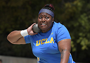 Ashlie Blake of UCLA wins the women's shot put at 56-1 (17.09m) during a collegiate dual meet against Southern California at Drake Stadium in Los Angeles, Sunday, April 29, 2018.