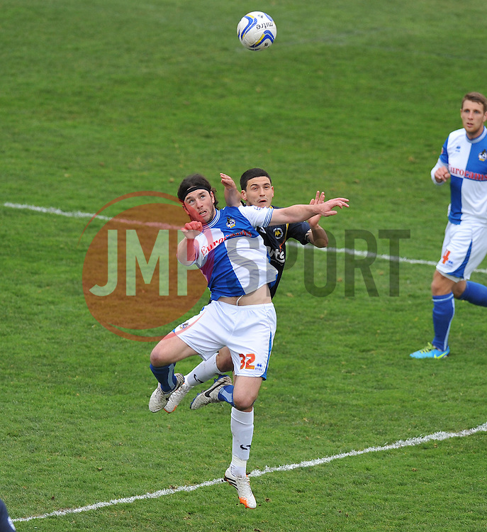 Bristol Rovers' John-Joe OToole wins a high ball.  - Photo mandatory by-line: Alex James/JMP - Mobile: 07966 386802 12/04/2014 - SPORT - FOOTBALL - Bristol - Memorial Stadium - Bristol Rovers v Torquay United - Sky Bet League Two
