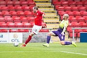 Crewe Alexandra defender Nicky Hunt has a shot at goal during the EFL Sky Bet League 2 match between Crewe Alexandra and Exeter City at Alexandra Stadium, Crewe, England on 5 October 2019.
