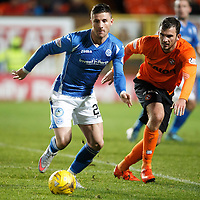 Dundee United v St Johnstone....21.11.15  SPFL,  Tannadice, Dundee<br /> Michael O'Halloran is closed down by Gavin Gunning<br /> Picture by Graeme Hart.<br /> Copyright Perthshire Picture Agency<br /> Tel: 01738 623350  Mobile: 07990 594431
