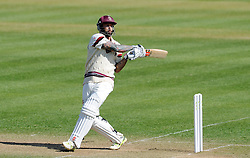 Somerset's Peter Trego pulls the ball off the bowling of Durham's Paul Coughlin.  - Photo mandatory by-line: Harry Trump/JMP - Mobile: 07966 386802 - 14/04/15 - SPORT - CRICKET - LVCC County Championship - Day 3 - Somerset v Durham - The County Ground, Taunton, England.