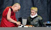 Day 5 Glastonbury Festival:<br /> Patti Smith with the Dalai Lama at Glastonbury festival on June 27. 2015.<br /> <br /> Photos Ki Price