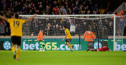 WOLVERHAMPTON, ENGLAND - Monday, January 7, 2019: Wolverhampton Wanderers' Raúl Jiménez celebrates scoring the first goal during the FA Cup 3rd Round match between Wolverhampton Wanderers FC and Liverpool FC at Molineux Stadium. (Pic by David Rawcliffe/Propaganda)