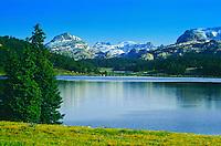 Island Lake on the Beartooth Plateau of the Beartooth Mountains.  Shoshoe National Forest, Wyoming.