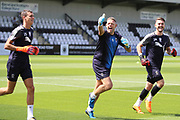 AFC Wimbledon goalkeeping coach Ashley Bayes, AFC Wimbledon goalkeeper Joe McDonnell (24), AFC Wimbledon goalkeeper Nicola Tzanev (25) warming up during the Pre-Season Friendly match between Borehamwood and AFC Wimbledon at Meadow Park, Borehamwood, United Kingdom on 28 July 2018. Picture by Matthew Redman.