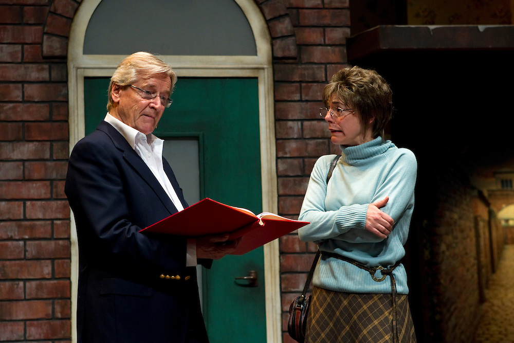 William Roach is the narrator as Jo Mousley plays Deirdre in the stage show, Coronation Street, 50th Anniversary Celebration, Civic Theatre, Auckland, New Zealand, Thursday, March 28, 2013.  Credit:SNPA / David Rowland
