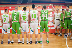 Klemen Prepelic, Jure Besedic, Marko Pajic, Alen Omic and Bojan Radulovic during Open day of Slovenian U20 National basketball team before the European Chmpionship in Slovenia, on July 9, 2012 in Domzale, Slovenia.  (Photo by Vid Ponikvar / Sportida.com)