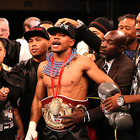 Karim Mayfield wins his fight for the  NABO Junior Welterweight Belt against Mauricio Herrera during the HBO Triple Explosion fight at the Turning Stone Resort Casino in Verona, NY, on Saturday, Oct 27, 2012. (AP Photo/Alex Menendez)