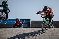 #75 (VAN BENTHEM Merle) NED during practice at Round 5 of the 2018 UCI BMX Superscross World Cup in Zolder, Belgium