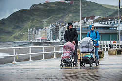 © Licensed to London News Pictures. 01/08/2017. Aberystwyth, UK. Heavy rain lashes the promenade  in Aberystwyth, west Wales, on the first day of August 2017.  <br /> More wet and unsettled weather, caused by  the jet stream flowing further south than normal, is forecast for the rest of the summer. Photo credit: Keith Morris/LNP