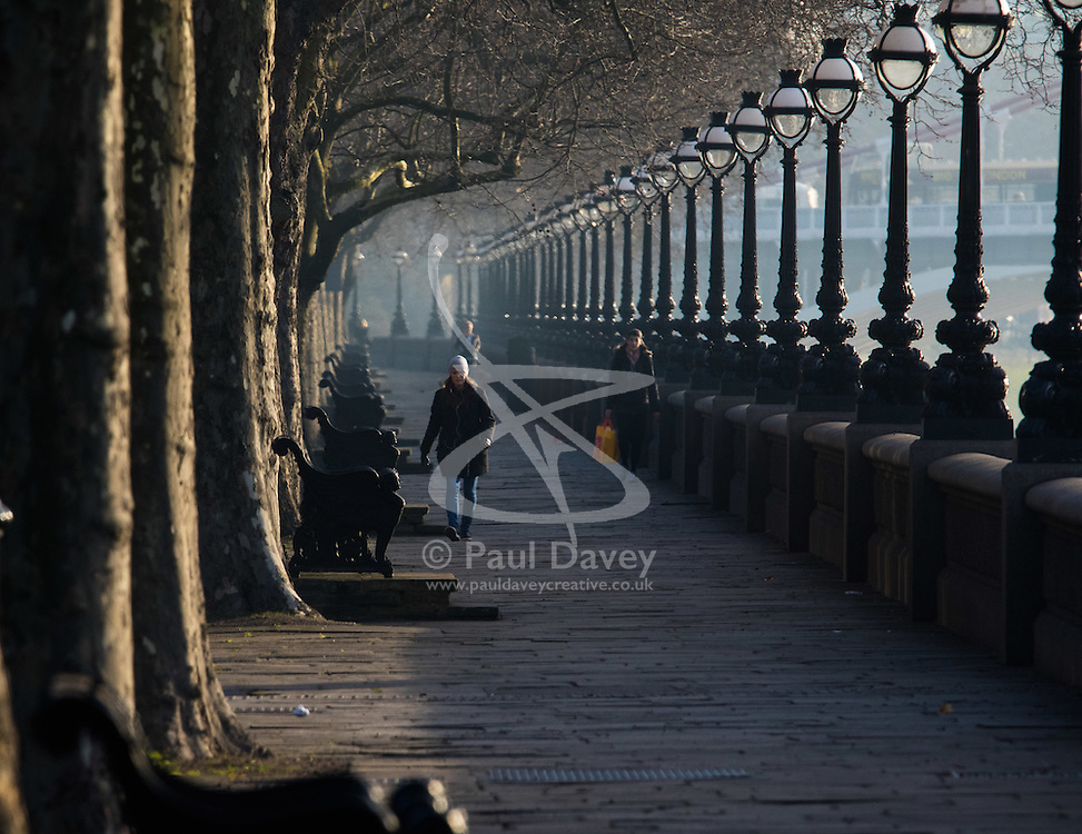 London, February 24th 2016. People walk along Cheyne Walk beside the River Thames as the sun rises on a chilly but clear London morning. ///FOR LICENCING CONTACT: paul@pauldaveycreative.co.uk TEL:+44 (0) 7966 016 296 or +44 (0) 20 8969 6875. ©2015 Paul R Davey. All rights reserved.
