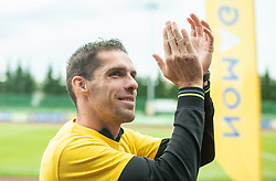 Luka Zinko during celebration of NK Bravo, winning team in 2nd Slovenian Football League in season 2018/19 after they qualified to Prva Liga, on May 26th, 2019, in Stadium ZAK, Ljubljana, Slovenia. Photo by Vid Ponikvar / Sportida