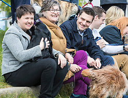 MSPs display their dogs and put them through an agility course with the winner decided by a public vote on the day.<br /> <br /> Pictured: Ruth Davidson, Claudia Beamish and Ross Thomson