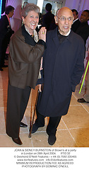 JOAN & SIDNEY BURNSTEIN of Brown's at a party in London on 28th April 2004.PTO 32