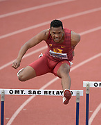 Apr 19, 2019; Torrance, CA, USA; Noah Green of Southern California wins 400m hurdles heat in 52.24 during the 61st Mt. San Antonio College Relays at El Camino College.
