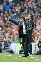 Football - 2012 / 2013 Championship - Brighton and Hove Albion vs. Wolverhampton Wanderers<br /> Wolverhampton Wanderers Manager Dean Saunders and Brighton and Hove Albion's Manager Gus Poyet shout instructions to there sides at The American Express Community Stadium