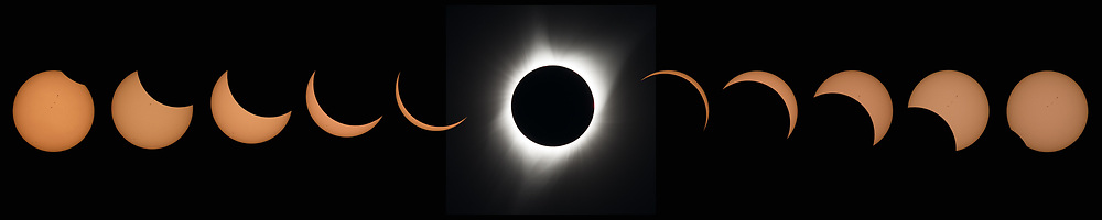 This composite image of eleven pictures shows the progression of a total solar eclipse at Madras High School in Madras, Oregon on Monday, August 21, 2017. A total solar eclipse swept across a narrow portion of the contiguous United States from Lincoln Beach, Oregon to Charleston, South Carolina. A partial solar eclipse was visible across the entire North American continent along with parts of South America, Africa, and Europe. Photo Credit: (NASA/Aubrey Gemignani)