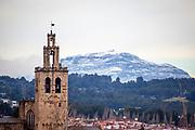 Monestir de Sant Cugat and snow on La Mola, Barcelona