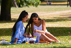Sisters Zarqa, 29 and Usma, 29, both teaching assistants shelter from the hot sunshine on Primrose hill in North London. London, August 06 2018.