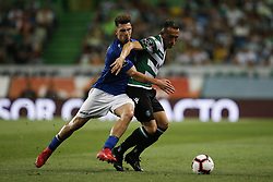 September 1, 2018 - Lisbon, Portugal - Jefferson of Sporting  (R) vies for the ball with Fabio Sturgeon of Feirense (L)  during Primeira Liga 2018/19 match between Sporting CP vs CD Feirense, in Lisbon, on September 1, 2018. (Credit Image: © Carlos Palma/NurPhoto/ZUMA Press)