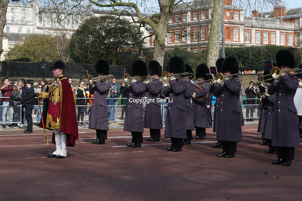 The Queen's Guard marching bands at the Whitehall to mark Commonwealth Day on 13th march 2017,London,UK. by See Li