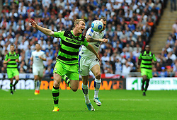 Mark Ellis of Forest Green Rovers competes with James Norwood of Tranmere Rovers - Mandatory by-line: Nizaam Jones/JMP - 14/05/2017 - FOOTBALL - Wembley Stadium- London, England - Forest Green Rovers v Tranmere Rovers - Vanarama National League Final