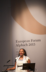 19.08.2015, Kongress, Alpbach, AUT, Forum Alpbach, Eröffnungspressekonfernferenz, im Bild Yetnebersh Nigussie (äthiopische Menschenrechtsaktivistin, Direktorin des Ethiopian Center for Disability and Development) während ihrer Eröffnungsrede // during the opening of European Forum Alpbach at the Congress in Alpach, Austria on 2015/08/19. EXPA Pictures © 2014, PhotoCredit: EXPA/ Jakob Gruber