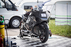 © Licensed to London News Pictures. 14/05/2016. York UK. Picture shows a motorbike powered by a £350,000 Rolls Royce helicopter turbine engine. The bike took Guernsey business man Zeff Eisenberg & his Madmax team four years to build & is being put through it's paces this weekend at Elvington Airfield in York. Photo credit: Andrew McCaren/LNP