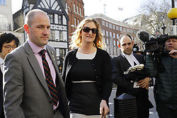 © Licensed to London News Pictures.15/03/2017.London, UK.   CLAIRE BLACKMAN (C), wife of Sergeant Alexander Blackman, arrives at the Royal Courts of Justice in London, where the appeal of Sgt Blackman will be announced.  Also known as Marine A, Sgt Blackman is appealing a life sentence for the murder of a wounded Taliban fighter in Afghanistan in 2011.Photo credit: Tolga Akmen/LNP