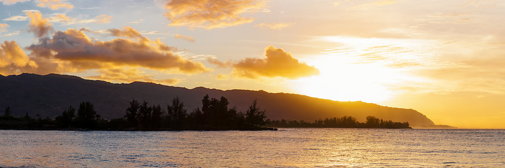 Kaena Point sunset panorama of the north shore of Oahu, Hawaii
