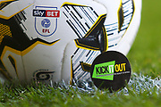 Kick it out sticker with football during the EFL Sky Bet League 1 match between Burton Albion and Barnsley at the Pirelli Stadium, Burton upon Trent, England on 6 April 2019.