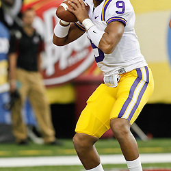 Dec 3, 2011; Atlanta, GA, USA; LSU Tigers quarterback Jordan Jefferson (9)prior to kickoff of the 2011 SEC championship game against the Georgia Bulldogs at the Georgia Dome.  Mandatory Credit: Derick E. Hingle-US PRESSWIRE