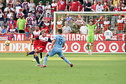 FC Dallas Mid Fielder Paxton Pomykal (19) makes a down field pass guarded by NYCFC midfielder Tony Rocha (15) while FC Dallas midfielder Bryan Acosta (8) and NYCFC goalkeeper Jesse Gonzales (1) watch during a MLS soccer game, Sunday, Sept. 22, 2019, in Frisco, Tex. FC Dallas and New York FC draw 1-1 (Wayne Gooden/Image of Sport)