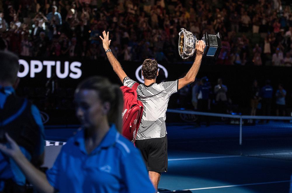 Roger Federer of Switzerland after the men's final on day fourteen of the 2017 Australian Open at Melbourne Park on January 29, 2017 in Melbourne, Australia.<br /> (Ben Solomon/Tennis Australia)