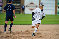 KELOWNA, CANADA - JUNE 28: Retired NHL player Jordin Tootoo runs the bases during the opening charity game of the Home Base Slo-Pitch Tournament fundraiser for the Kelowna General Hospital Foundation JoeAnna's House on June 28, 2019 at Elk's Stadium in Kelowna, British Columbia, Canada.  (Photo by Marissa Baecker/Shoot the Breeze)