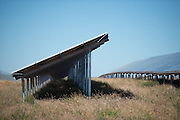 Side view of the rows of solar panels for the Solar Park