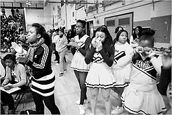 PIAA District 12 Semifinals, South Philadelphia High School, Philadelphia, PA - February 21, 2013; Members of Cougars' cheerleading squad close eyes when a Vaux aims for a shot. He missed.
