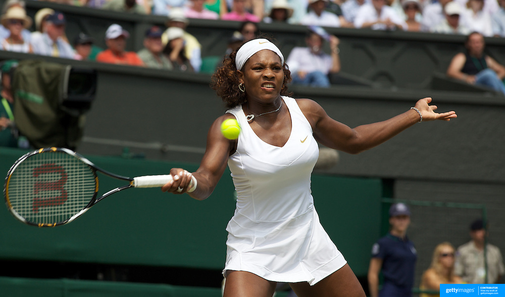 Serena Williams, USA, in action against Elena Dementieva, Russia, in the Women's Singles Semi-Final at the All England Lawn Tennis Championships at Wimbledon, London, England on Thursday, July 02, 2009. Photo Tim Clayton.
