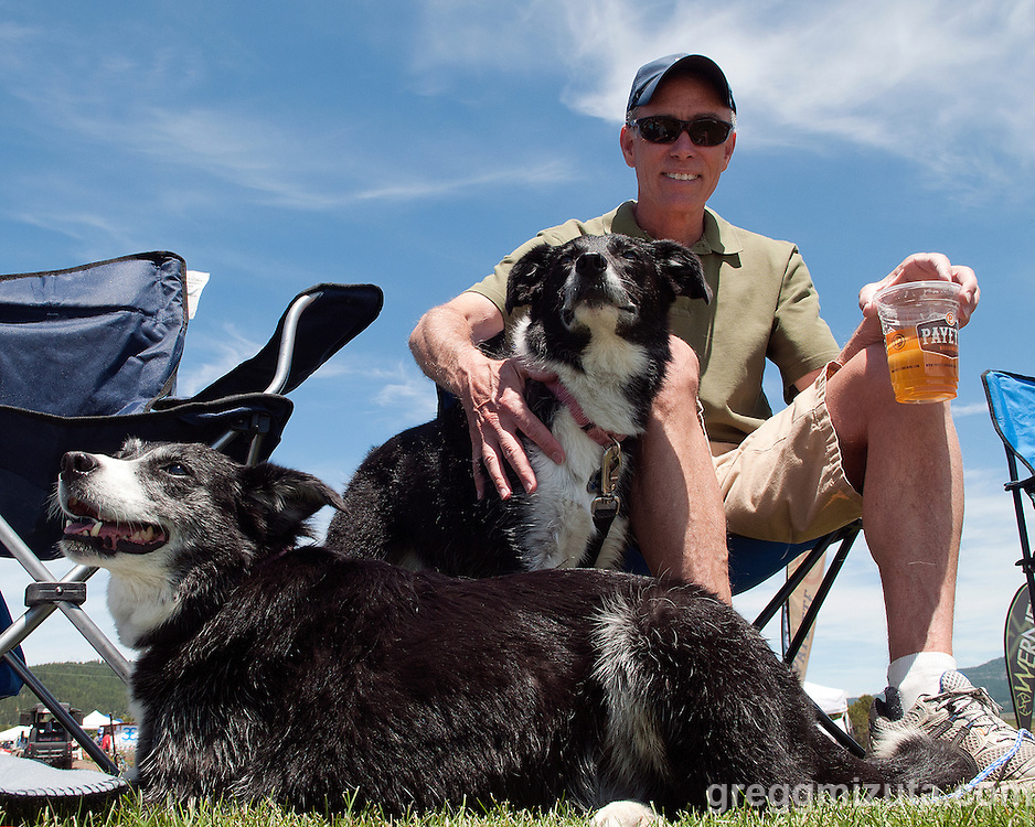 Jeff Reid with Keeah and Sydney enjoying the Payette River Games at Kelly's Whitewater Park in Cascade, Idaho on June 21, 2014.